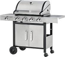 Barbecue Gas con Coperchio e Bruciatore Laterale,