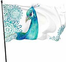BDGHTDARED - Bandiera da giardino con pavone blu,