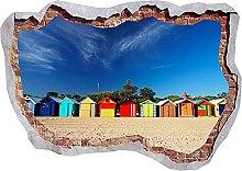Beach Hut Colors Sunshine Blue Sky 3D Wall Sticker