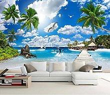 Beach Seascape 3D Photo Wall Paper Soggiorno