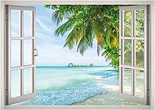 Beach Vacation Window 3D Decalcomania della parete
