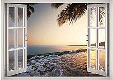 Beach Water View Window 3D Decalcomania della