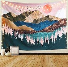 Bearsu - Arazzo da parete Forest Tree Sunset, 95x73