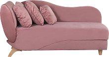 Beliani - Chaise longue sinistra in tessuto rosa