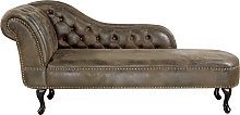 Beliani - Chaise longue vintage sinistra in pelle