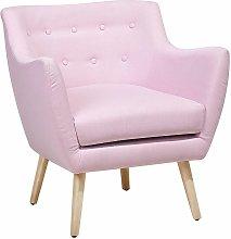 Beliani - Poltrona in tessuto rosa pastello -