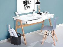 Beliani - Scrivania da ufficio in legno bianco con