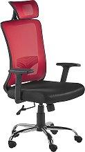 Beliani - Sedia da ufficio girevole rossa e nera