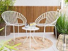 Beliani - Set da balcone in metallo bianco tavolo