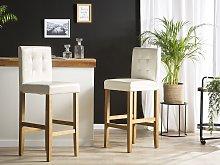 Beliani - Sgabello da bar sedia in ecopelle bianco