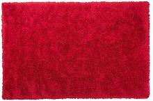 Beliani - Tappeto pelo lungo 140 x 200 cm rosso