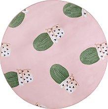 Beliani - Tappeto rosa motivo cactus ø 140 cm