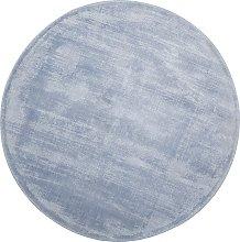Beliani - Tappeto rotondo in viscosa azzurra