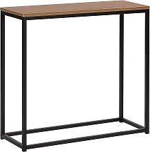 Beliani - Tavolino consolle nero/legno scuro DELANO