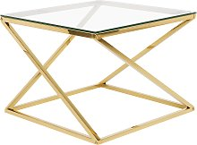 Beliani - Tavolino in vetro color oro BEVERLY