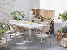 Beliani - Tavolo da giardino acciaio bianco e