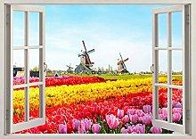 Bellissimi tulipani fiori finestra vista parete
