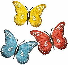 Betterlifeit - 3pcs Metal Butterfly Mural Art,