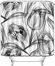 Bianco e nero schizzo fiori tenda doccia bagno