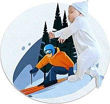 Biaoya - Tappeto da gioco per bambini, rotondo,