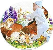 Biaoya Tappeto rotondo per bambini rotondo tappeto