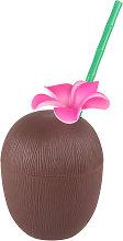 Bicchiere noce di cocco con cannuccia