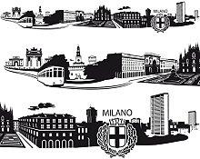 Bilderwelten Adesivo murale Skyline Milano,