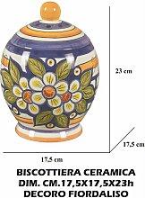 BISCOTTIERA CERAMICA CM.17,5X23h DEC. FIORDALISO