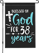 Blessed By God for 38 Years Garden Flags,