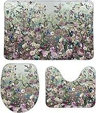 Blooming - Set di 3 tappetini da bagno, 3 pezzi, 3