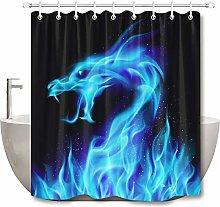 Blu fuoco drago semplice tenda doccia bagno tenda
