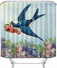 Blu uccello rosso rosa viola fiore Doccia tenda