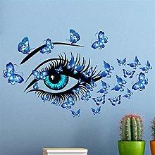 Blue Beauty Eyes and Butterflies Adesivo da parete