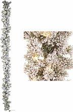 Boa Festone Natale Innevato Bianco con Luci Led