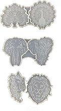 Boji Stampo In Silicone, 3 Pz Elefante Pavone