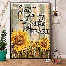 Bokueay Sunflower Start Every Day with A Grateful