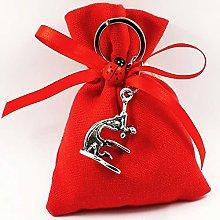 Bomboniere laurea sacchetti rossi con pendente