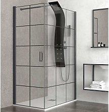 Box doccia 120x80 colore nero. porta da 80cm fisso