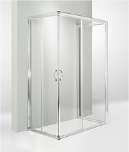 Box doccia 3 lati porta scorrevole 75x115x75 cm