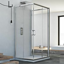 Box doccia 3 lati scorrevole vetro trasparente h
