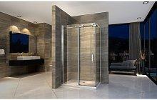 Box doccia angolare con porta scorrevole e lato