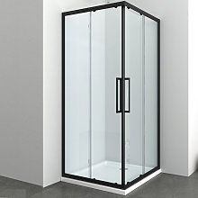 box doccia angolare corner black nero cristallo