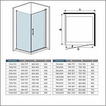 Box doccia angolare porta 70cm parete fissa 90cm