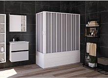 Box doccia cabina angolare sopra vasca a soffietto