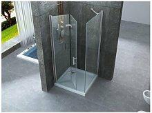 Box doccia due lati con porta a libro cristallo