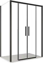 Box doccia due lati con profili neri ingresso