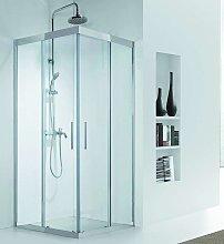 Box doccia in acciaio 90x70 vetro 8mm trasparente