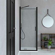Box doccia per nicchia porta battente nero opaco