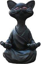 Buddha nero gatto figurine meditazione yoga da