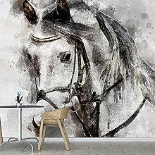 BYSQX Carta Da Parati Fotografica 3D Nero Cavallo